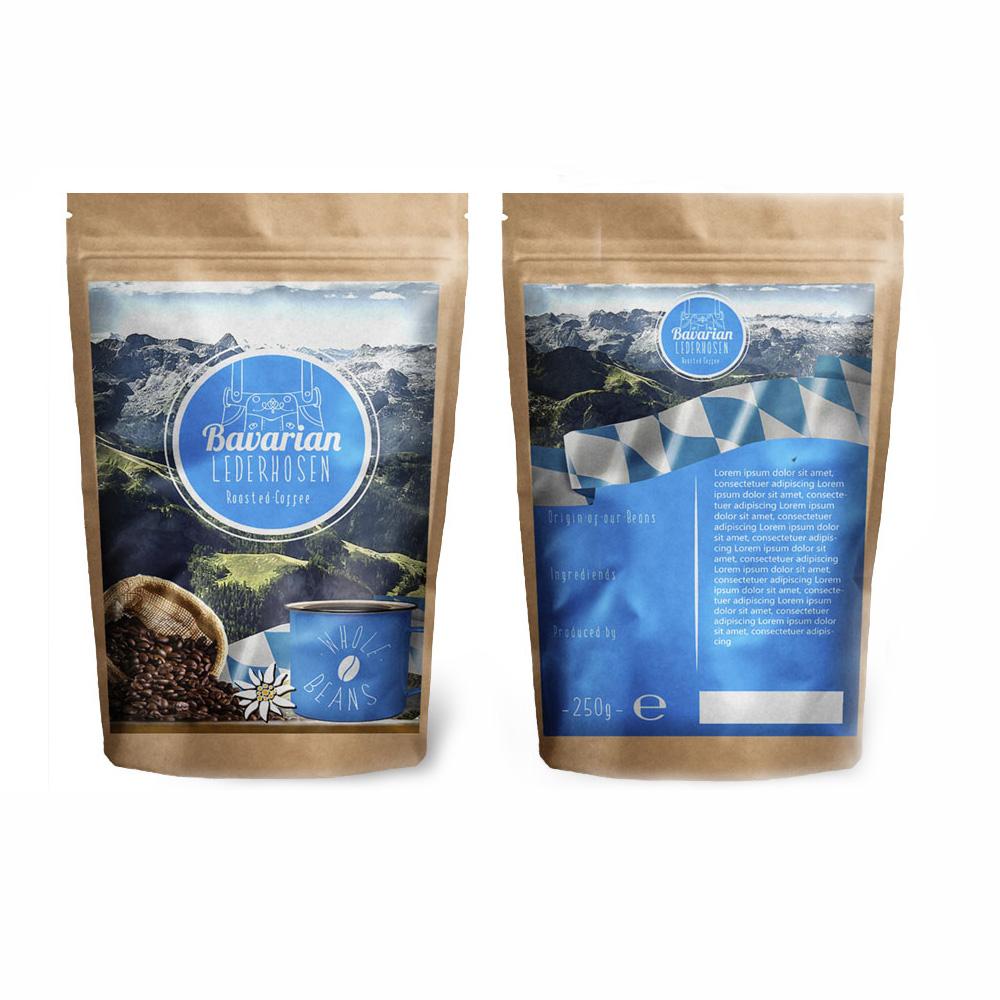 Bavarian Lederhosen Logo und Kaffeebeuteldesign