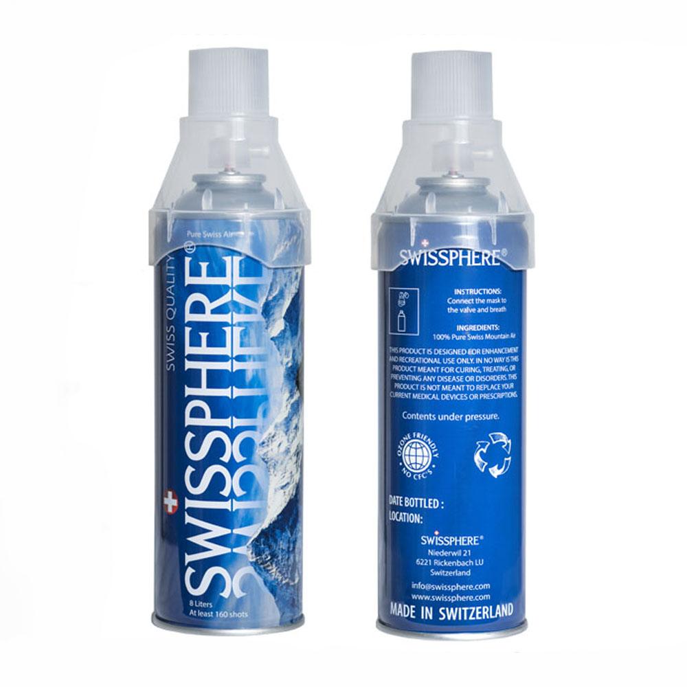Swissphere – gefüllte Sauerstoffdosen zum Inhalieren.